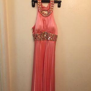 Bead Embellished Halter Top Pink Dress Gown